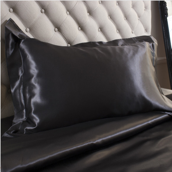 Silk Bed Linen Black Oxford Pillowcase - Jasmine Silk