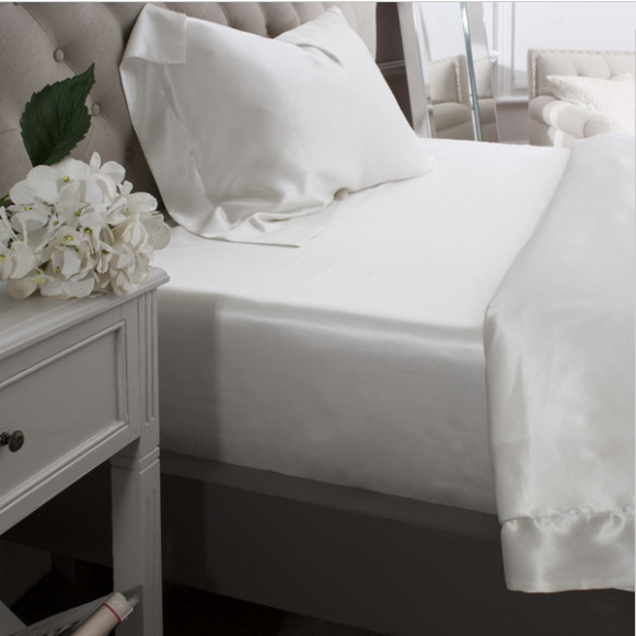 Silk Bed Linen Ivory Fitted Sheet - Jasmine Silk