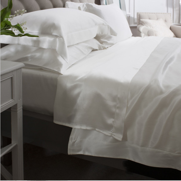 Silk Bed Linen Ivory Flat Sheet - Jasmine Silk