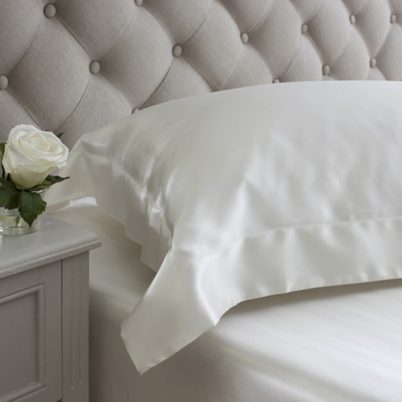 Silk Bed Linen Ivory Oxford Pillowcase - Jasmine Silk