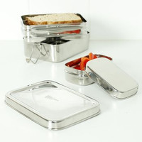 """Panna"" Two Tier Rectangle Lunch Box with Mini Container - A Slice of Green"