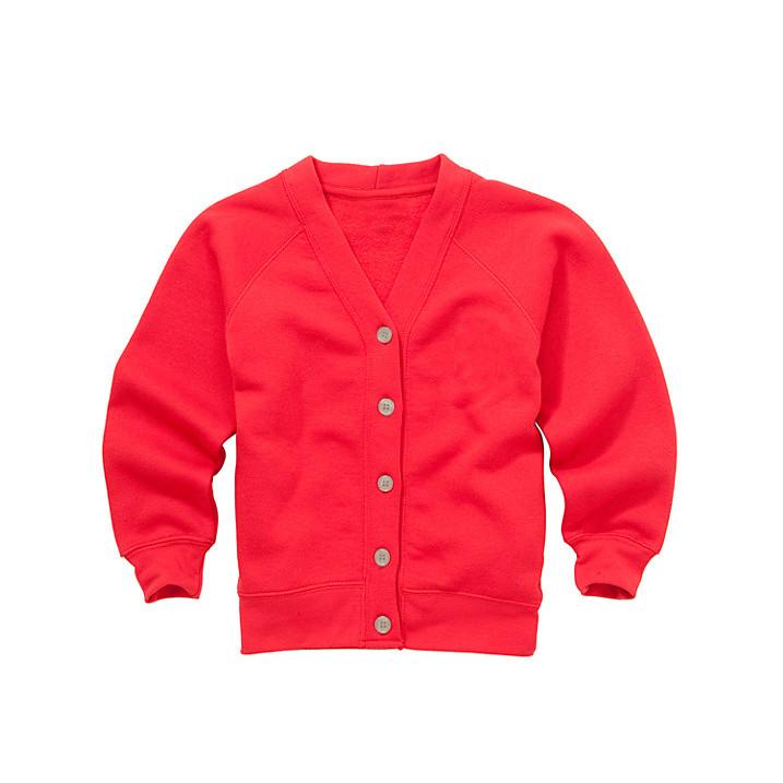 Organic Cotton School Cardigan - Red