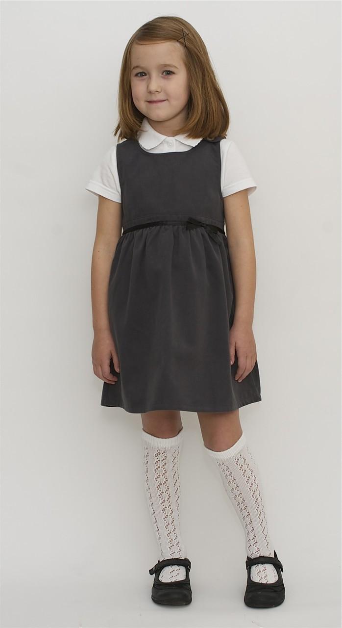 a69b956977c Organic School Uniform - Grey Pinafore Dress With A Bow