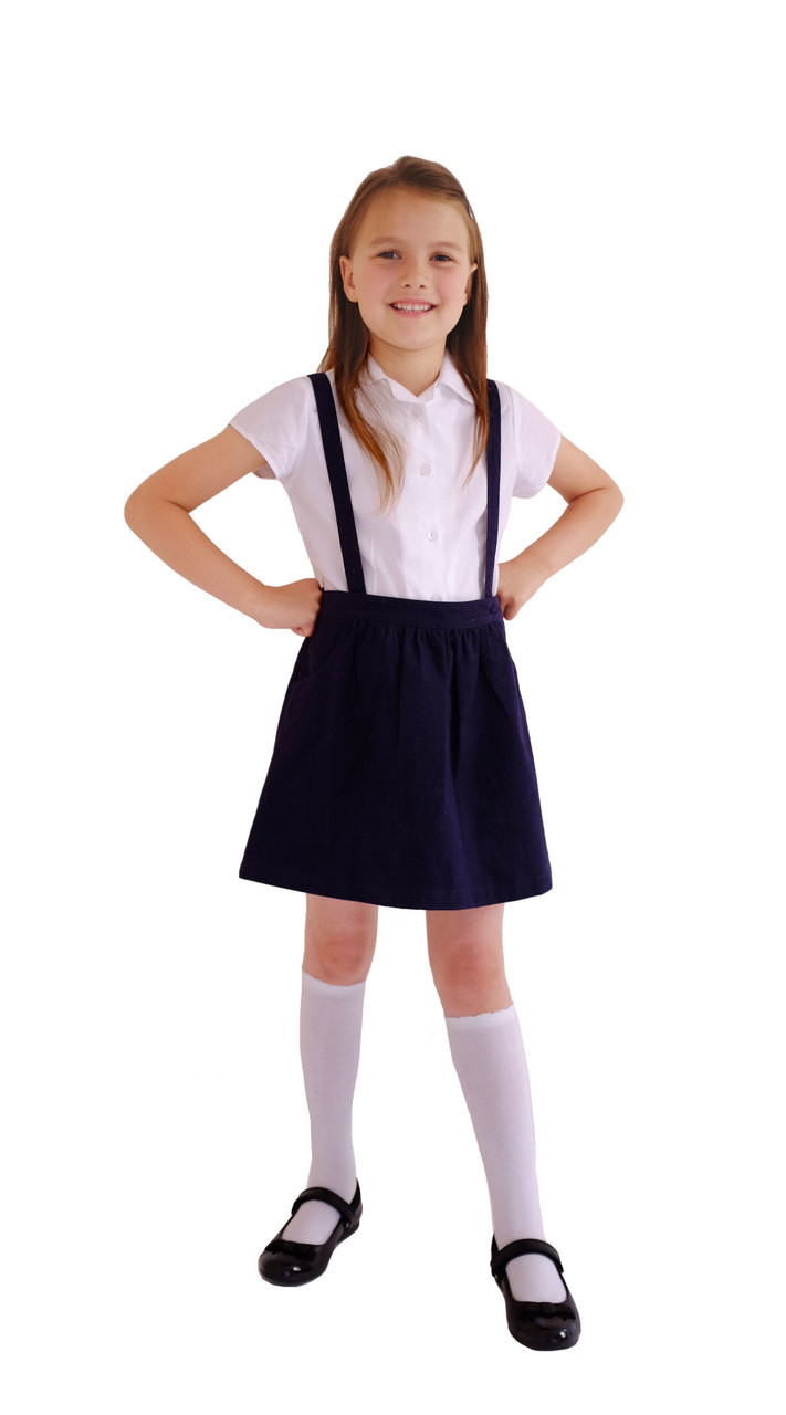 2d8683683 ... Organic School Uniform - Navy Skirt with Detachable Braces. Image 1.  Image 1 ...