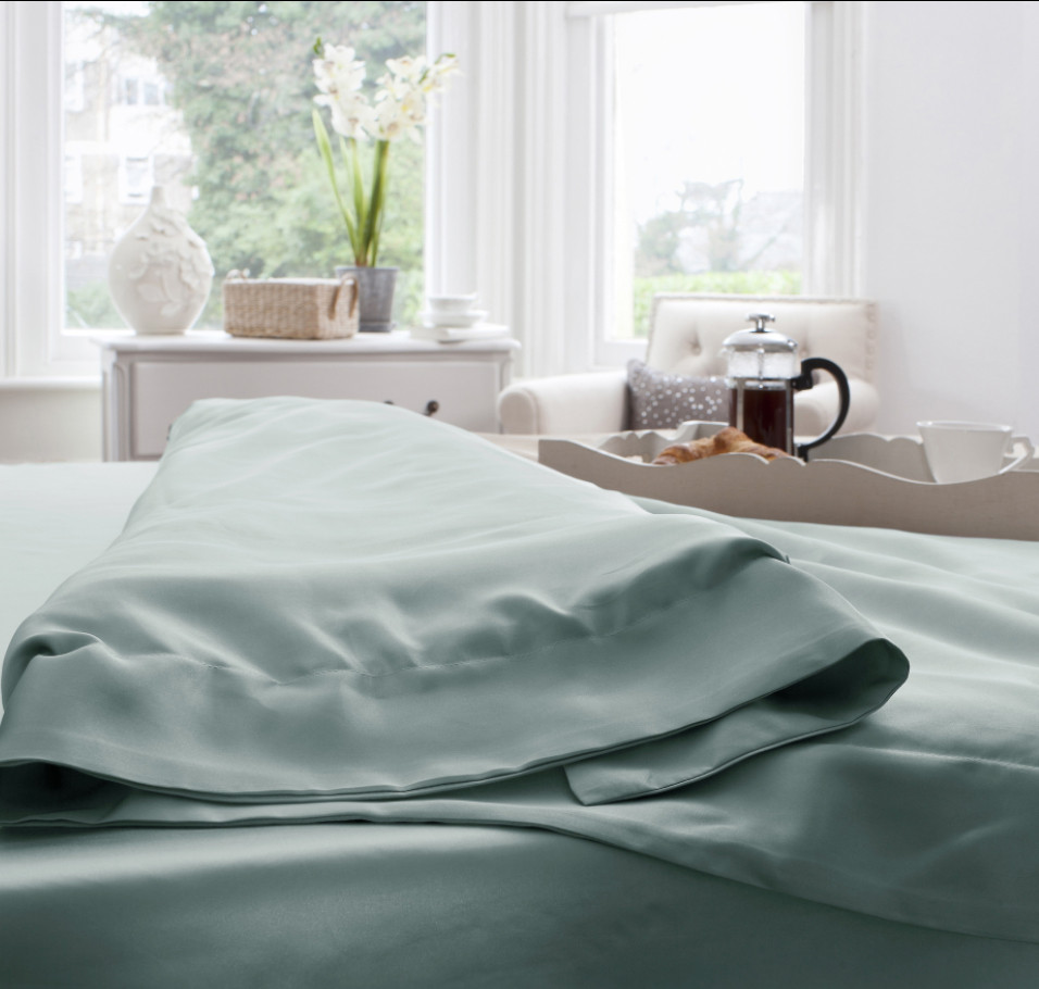 Jasmine Silk Pure Silk Flat Sheet Duck Egg KING//SUPERKING