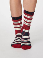 Addie Bamboo Striped Socks in Berry Red - Thought