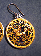 Snow Lion Earrings These stunning earrings are made of sterling silver with 24k gold plating, and measure 1.5 inches high overall. Gorgeous detail, very special. Wow! Comes tucked in a small brocade bag. Item #FSE-GI-SL.
