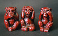 "Three Wise Monkeys Speak-No-Evil, Hear-No-Evil, See-No-Evil... Famed through the ages as the embodiment of three major virtues... Just the sight of this trio serves as a reminder, encouraging us to Greater Wisdom and Coolness. Keep a set on your desk at work for you and those you are in contact with. Attached set of three, 2"" tall. Item #FSE-LK-3LWM."