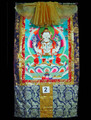 "Chenrezig - Thangka #2 Chenrezig is the mode of being of the mind that is the union of emptiness and compassion. He is the awakened nature of each being's own mind, the love and compassion primordially present in pure transcending awareness. Chenrezig is within us because love and compassion are not qualities added to the mind. These qualities are part of the awakened state even if, for the moment, this state exists only as a potential for us. He is the visible expression taken by all the Buddhas to help activate the love and compassion that are presently only a potential in us and to reveal the ultimate Chenrezig to ourselves. Chenrezig may be the most popular of all Buddhist deities, except for Buddha himself -- he is beloved throughout the Buddhist world. As Chenrezig, he is considered the patron Bodhisattva of Tibet, and his meditation is practiced in all the great lineages of Tibetan Buddhism. The beloved king Songtsen Gampo was believed to be an emanation of Chenrezig, and some of the most respected meditation masters (lamas), like the Dalai Lamas and Karmapas, who are considered living Buddhas, are also believed to be emanations of Chenrezig. His mantra, famous over all of Asia, is OM MA NI PAD ME HUNG Measures 29"" x 53"", image 20"" x 28"". Item #FSE-TT02."