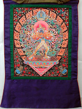 "Kalachakra Thangka (Classic Tibetan instructional painting) I am sure many of you have heard of - or have attended - His Holiness The Dalai Lama's celebrated teachings and initiation of the Kalachakra. These extremely beautiful Kalachakra thankas refer to these teachings, and address the instructional energetics of the teachings. Each is unusually exquisite with much 24K GOLD detail - the photo does not do the thanka justice, though CLICK ON THE PHOTO TO ENLARGE....everything that looks like yellow in the photo is actually 24K gold. The images themselves measures 17"" x 13"", and overall they measures 27"" x 18"". Each is individually hand painted of course, with a frame of solid-patterned silk, which compliments the unusually delicate and fine detail of the painting. These thankas were brought to me by a very special Tibetan Lama who is a dear friend of mine, and we have only a very limited number. Item #FSE-SH-K."
