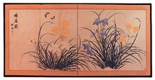 """Exotic flowers in shades of soft peach and blues on a beige background. Excellent for bedroom or living room where you want a very relaxed, contemporary feeling. 72"""" x 36""""."""