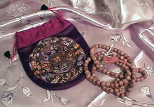 Brown Bodhi Seed Mala Necklace with Silk Pouch