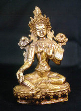 Brass Seated Tara, 8 in.