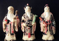 "Three Immortal Household Gods of faux ""Ivory"""