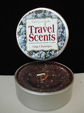 A handcrafted, portable candle-in-a-tin by Crystal Journey Candles.