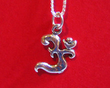OM Silver Pendant With Silver Chain