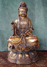 Brass Kuan Yin, 10 in.