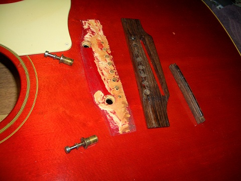 60's Gibson J-45 Bridge Repair Job