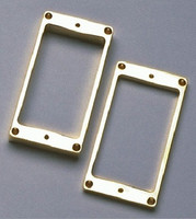 Metal Humbucking Pickup Ring Set - Neck and Bridge, With Flat Bottom, Gold