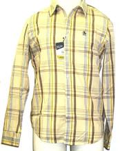 Original Penguin by Munsingwear Firecracker Men's Beige and Plaid Button Up Woven Shirt