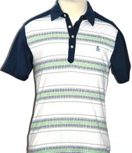 Men's Two by Four White, Green and Blue Striped Polo Shirt by Original Penguin by Munsingwear - Front