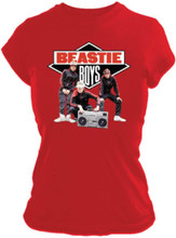 Beastie Boys Logo with Early Group Photograph Women's Red T-shirt
