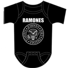 Ramones Presidential Seal Logo Baby Onesie Infant One Piece Romper Suit in Black