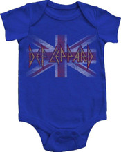 Def Leppard Union Jack British Flag Baby Onesie Infant Romper Suit in Blue
