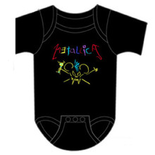 Metallica Crayon Drawing Childlike Logo and Character Baby Onesie Infant Romper Suit in Black
