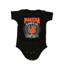 Pantera Daddy's Little Thrasher Devil Horn Hands Logo Baby Onesie Infant Romper Suit in Black
