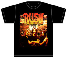 Rush Progressive Rock Band Classic Band Members Photograph from Beyond the Lighted Stage DVD Men's Black T-shirt