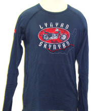 Lynyrd Skynyrd Logo and Motorcycle Men's Blue Long Sleeve Vintage T-shirt - Front