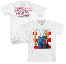 Bruce Springsteen Born in the USA Album Cover Artwork with Song Titles Men's White T-shirt