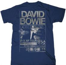 David Bowie Isolar Tour Los Angeles' Forum Performances February 1976 Men's Vintage Blue Concert T-shirt