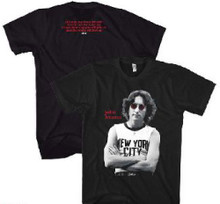 John Lennon Classic New York City T-shirt Photograph with Imagine Song Lyrics Men's Black T-shirt