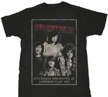 Led Zeppelin February 26, 1970 Stockholm, Sweden European Tour Show Men's Black Vintage Concert T-shirt
