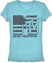 MTV American Flag Logo Women's Blue V-Neck T-shirt