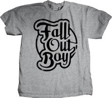 Fall Out Boy Script Style Logo Men's Gray T-shirt