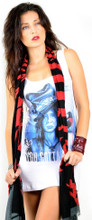 Corello Dead Horse Logo Scarf –- in red and black - unwrapped