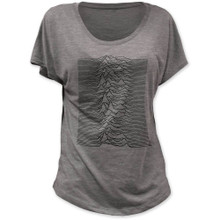 Joy Division Unknown Pleasures Album Cover Artwork Women's Gray Vintage Dolman T-Shirt