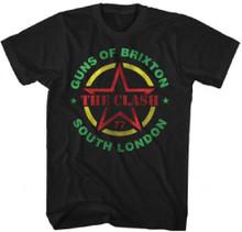 The Clash Guns of Brixton South London 1977 Show Men's Black Vintage Concert T-shirt