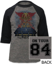 Aerosmith 1984 Back in the Saddle Concert Tour Gray Vintage Baseball Jersey T-shirt - Front