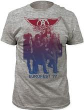 Aerosmith Eurofest '77 Men's Vintage Gray Concert Tour T-shirt