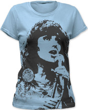 Jefferson Airplane Grace Slick Photograph Women's Blue Vintage T-shirt