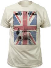 John Lennon at White Piano Photograph with Union Jack British Flag Men's White Vintage T-shirt