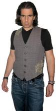 Roar Clothing Nordhaven Gray Plaid with Graphics Men's Vest - Front
