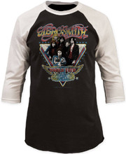 Aerosmith World Tour Black with White Sleeves Vintage Concert Baseball Jersey T-shirt