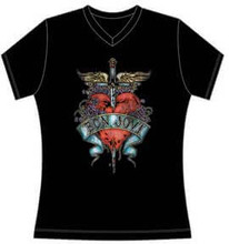 Bon Jovi Heart and Dagger Logo Women's Black V-Neck T-shirt