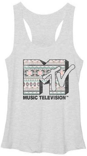 MTV Music Television Classic Southwestern Style Logo Women's Heather Gray Vintage Tank Top T-shirt