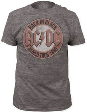 AC/DC Back in Black World Tour 1980 Men's Gray Vintage T-shirt